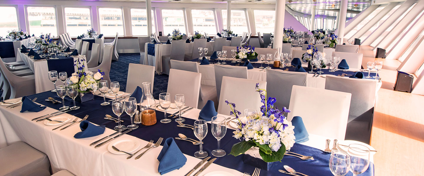 duchess yacht dining room floor decorated in blue and white